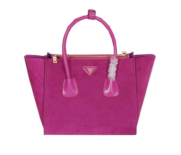 Prada Tote Bag Suede Leather BN2619 Purple