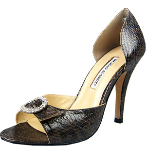 Manolo Blahnik snakeskin pumps brown
