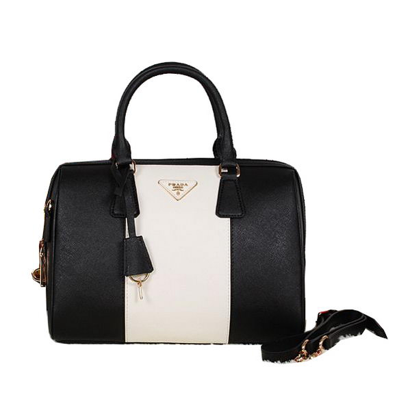 PRADA Saffiano Leather Two Handle Bag BN0823 Black&White