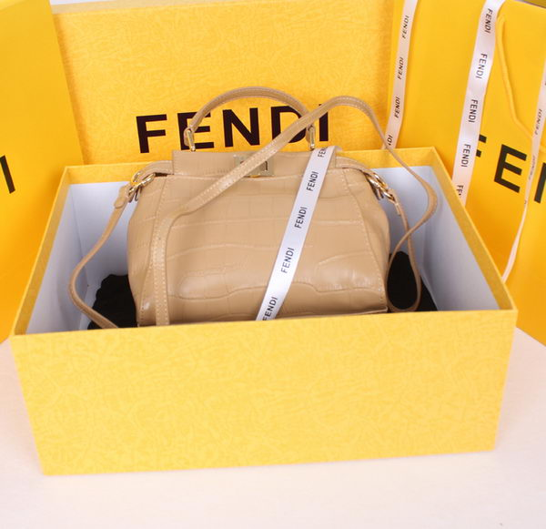 Fendi Icoic Peekaboo Bag Original Croco Leather F8244 Apricot