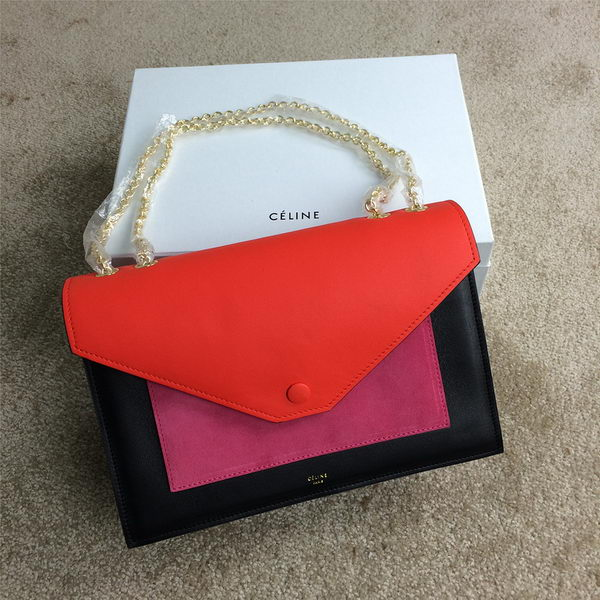 Celine Pocket Handbag Seashell Nubuck Leather 175383 Black&Rose&Orange