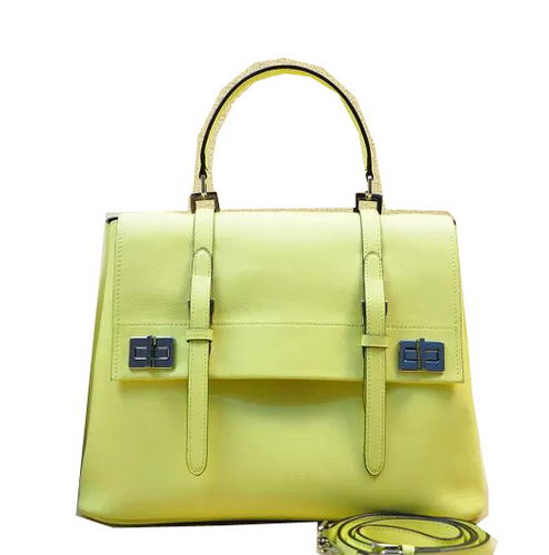 Prada Original Leather Tote Bag BN2789 Lemon