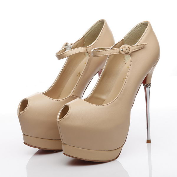 Christian Louboutin Sheepskin Leather Platforms 160mm Pump CL1408 Apricot