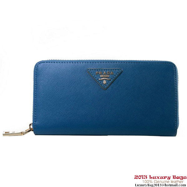 Prada Saffiano Calf Leather Wallet 1M1136 Dark Blue