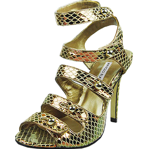 Manolo Blahnik five-buckle watersnake skin sandals golden