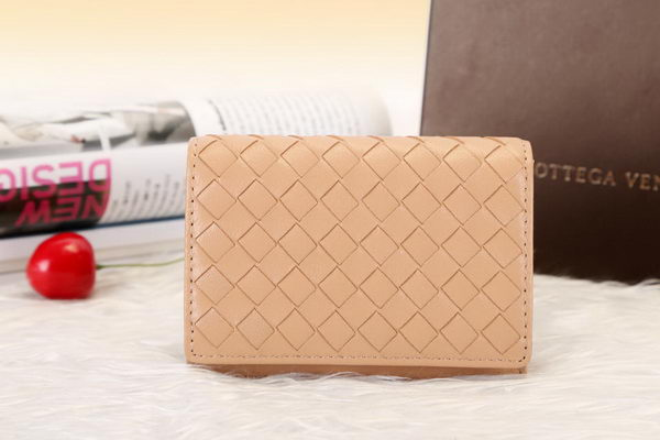 Bottega Veneta Shock Intrecciato Washed Vintage Card Case 133945 Wheat