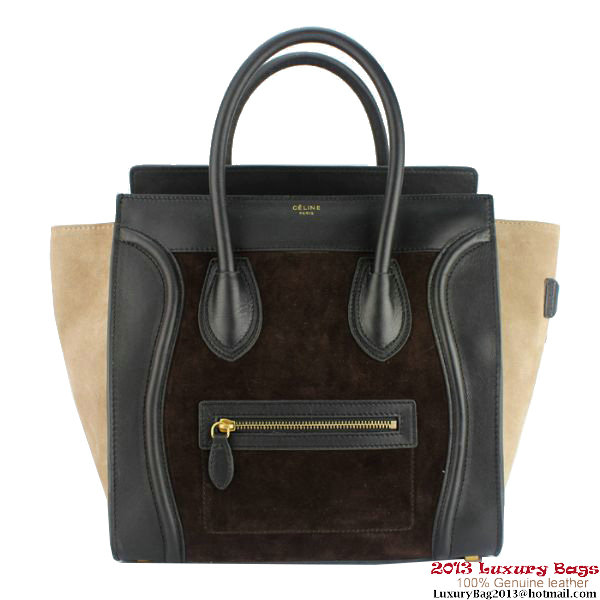 Celine Luggage Mini Bag Suede C88022 Brown&Black&Apricot