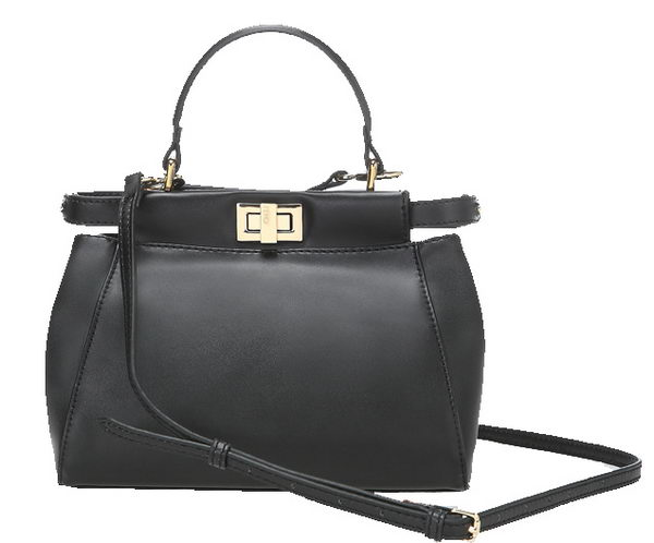 Fendi Icoic mini Peekaboo Bag in Calfskin Leather 8BN244 Black