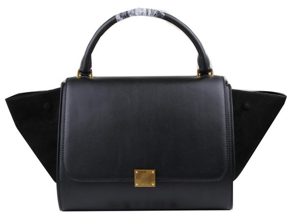 Celine Trapeze Bag Suede Leather C3342 Black