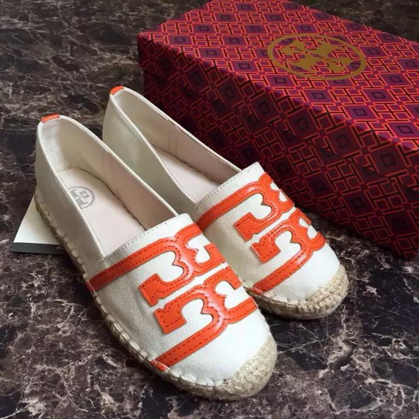 Tory Burch Casual Shoes Canvas TB1512 OffWhite&Orange