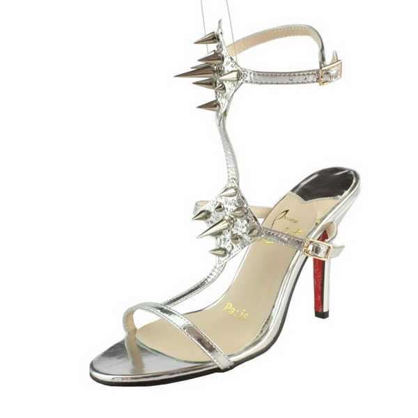 Christian Louboutin Lady Max 100mm Leather Strass Sandals Silver
