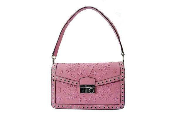 Prada Saffiano Leather Flap Bag BN924E Pink