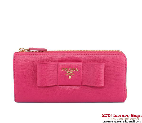 Prada Saffiano Leather Wallet with Leather Bow PR1183 Rose