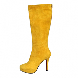 Christian Louboutin red sole shoes Babel High Boots Yellow Suede