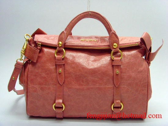 Miu Miu Side Bows Oil Leather Tote Bag MM049 - Pink