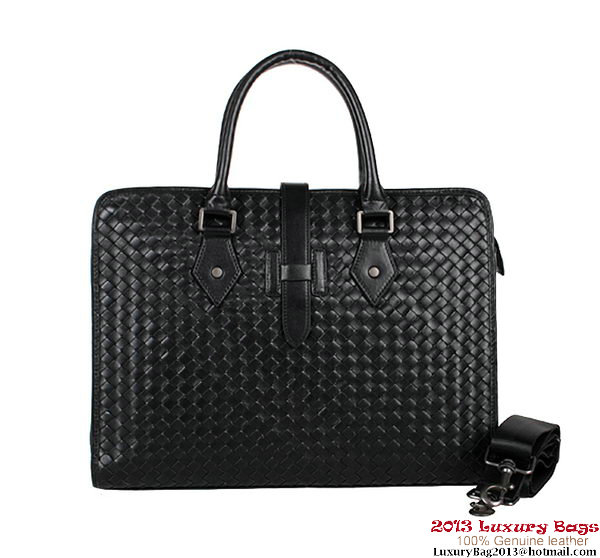 Bottega Veneta Intrecciato Leather Briefcase 1159347-5 Black