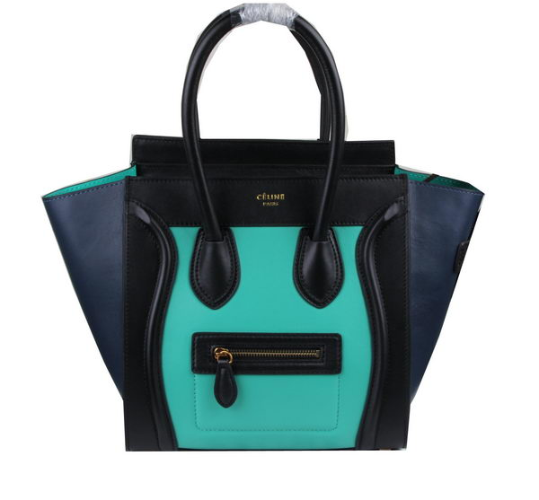 Celine Luggage Micro Tote Bag Original Leather C3308M Light Green&Black&Royal