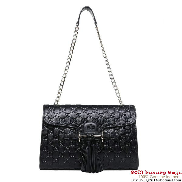 Gucci Emily Guccissima Leather Chain Shoulder Bag 295403 Black