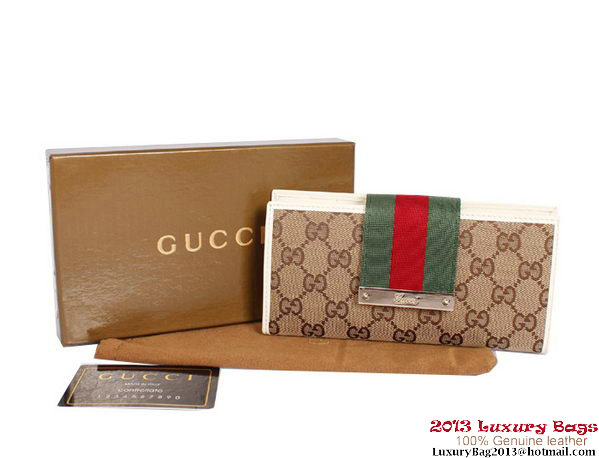 Gucci Web Metal Bar Continental Wallet 181668 OffWhite