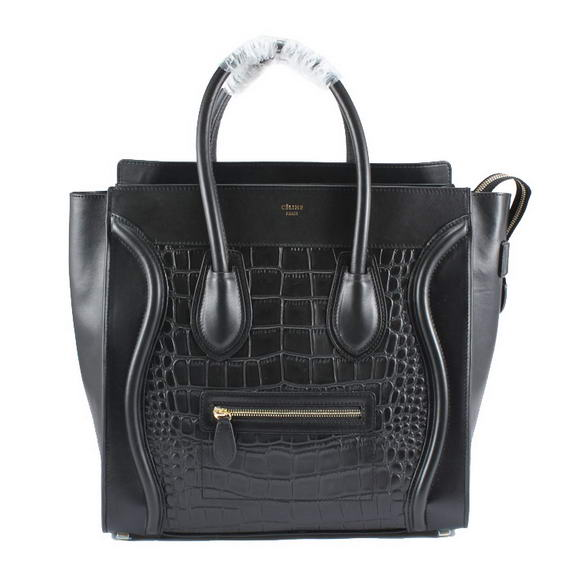 Celine Luggage Bags Jumbo in Croco Black