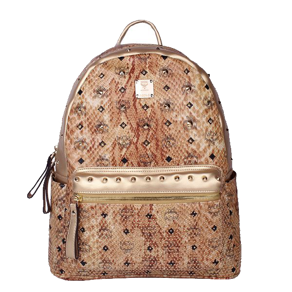MCM Armour Medium Backpack Snake Leather MC2095 Gold