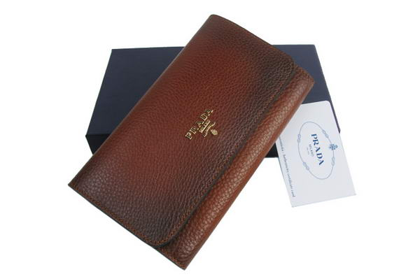 Prada Dressed Leather Long Continental Wallet 1M608A Brown