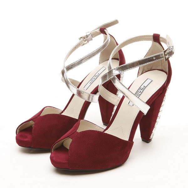 PRADA Suede Leather 110mm Sandals PD327 Burgundy