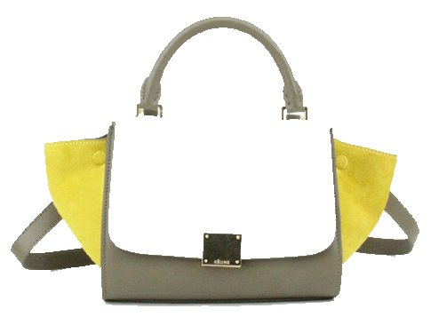 Celine Nano Trapeze Bag Nubuck Leather C88038 White&Khaki&Yellow