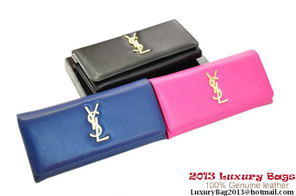 YSL Classic Saint Laurent Wallet with Interlocking Metal YSL Signature