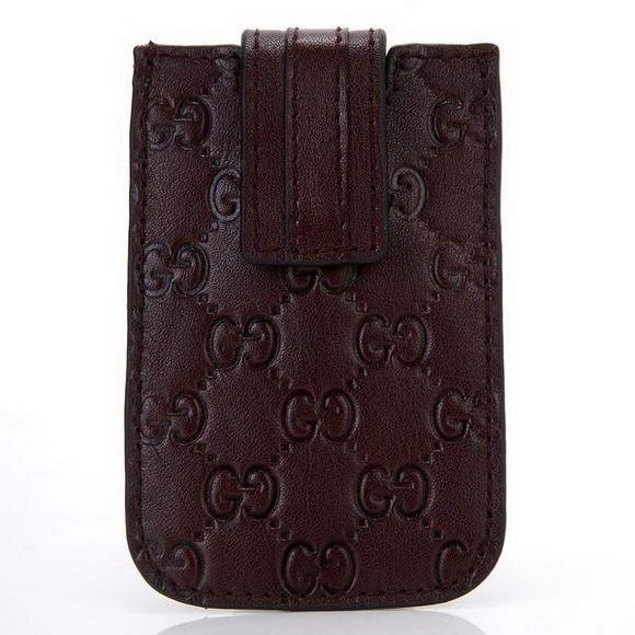 Gucci Embossed Leather iphone Case 210188 Brown