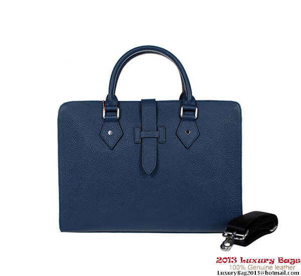 Hermes Mens Briefcase Calf Leather 3308 RoyalBlue