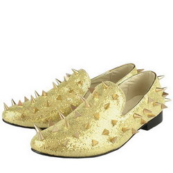 2011 Fashion Christian Louboutin Men Shoes Rollerboy Spikes Flats Golden