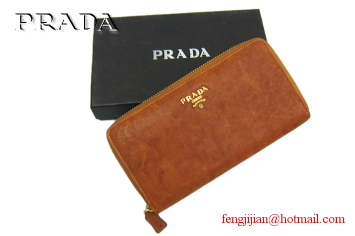 Prada Leather Lamb Skin wallet B806 Tan