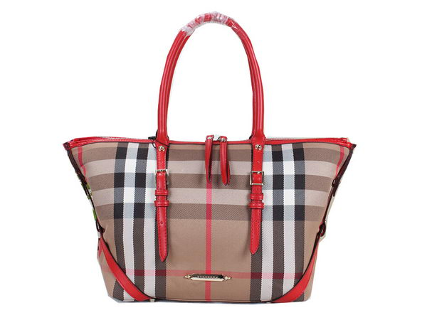 BurBerry House Check Saddlestitch Shoulder Bag B20551 Red