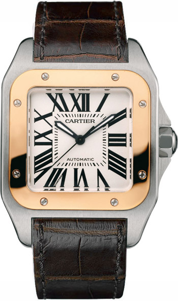 Cartier Santos 100 Stainless Steel 18kt Rose Gold Mens Automatic Wristwatch-W20107X7