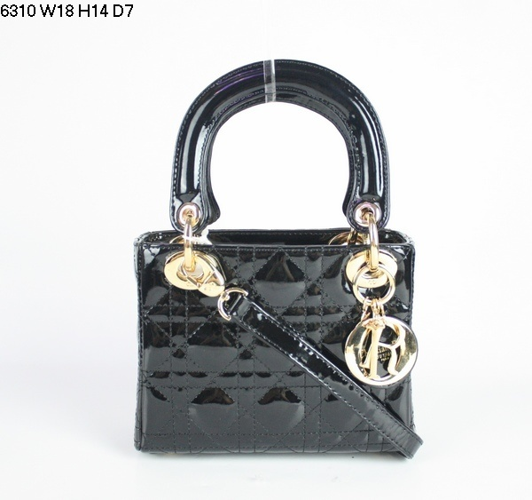 Christian Lady Dior Black Patent Leather Bag 6310 Gold