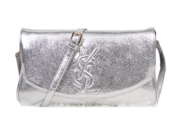 Yves Saint Laurent Belle Du Jour Clutch Calf Leather YSL8904 Silver
