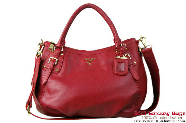 Prada BR4579 Grained Calf Leather Tote Bag Red
