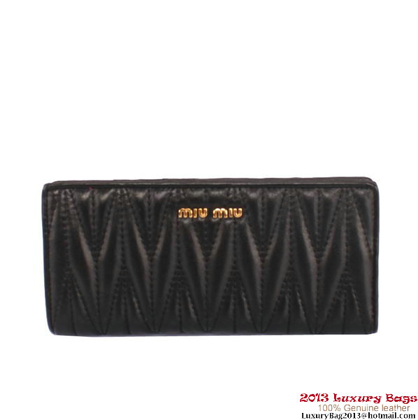 miu miu Matelasse Shiny Sheepskin Leather Wallet 8012 Black