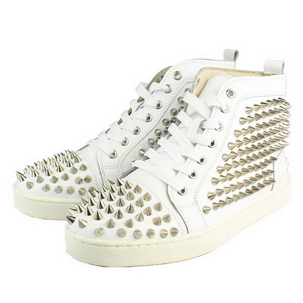 Christian Louboutin White Sheepskin Silver Spike Sneakers