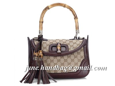 Gucci New Bamboo Medium Top Handle Bag 240242 Coffee