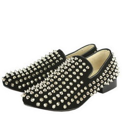 2011 New Christian Louboutin Men Sneakers Rollerboy Spikes Suede Black