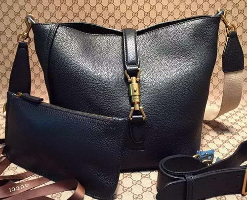 Gucci Jackie Soft Leather Bucket Bag 380579 Black