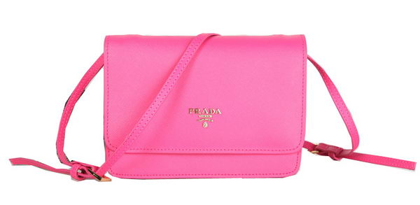 Prada Saffiano Leather Flap Shoulder Bag BT1213 Rose