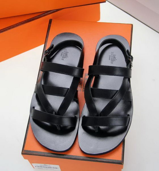 Hermes Slipper Calfskin Leather HO0379 Black