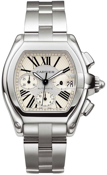 Cartier Roadster Chronograph Stainless Steel Mens Automatic Wristwatch-W62019X6