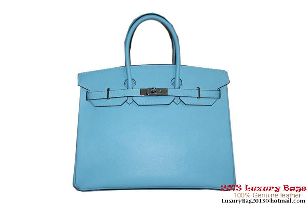 Hermes Birkin 35CM Tote Bag Light Blue Clemence Leather H6089 Silver