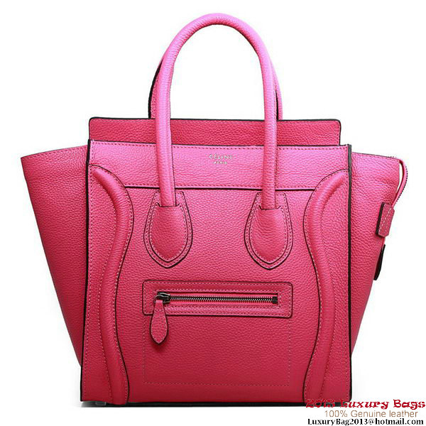 Celine Luggage Micro Boston Bag Fluorescence Original Leather Rose