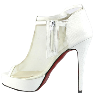 Christian Louboutin Red Sole Shoes Lace-Up Booties White
