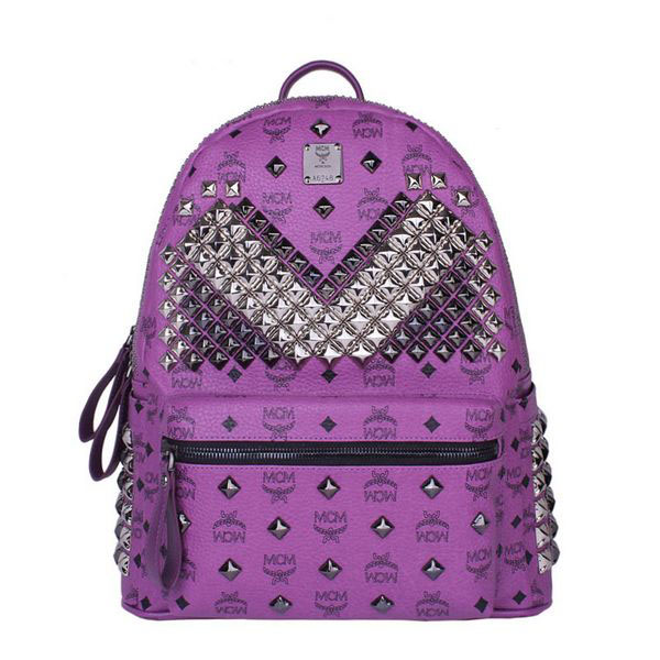 MCM Medium Stark Front Studs Backpack MC4237 Purple